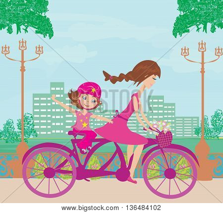 Mother and daughter biking on tandem bike  , vector illustration