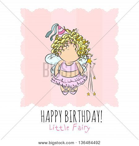 cute illustration of a fairy with magic stick. doodle. happy birthday card. romantic style.