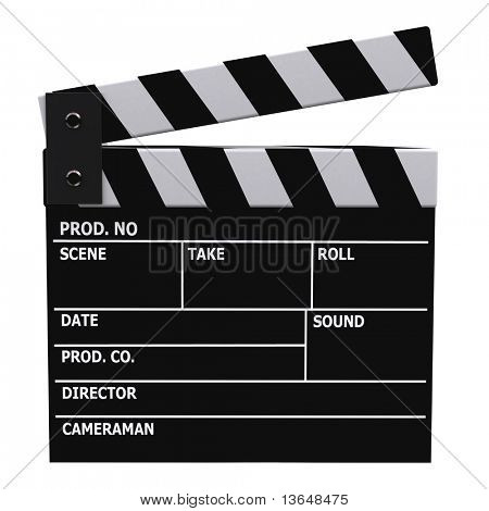 3D film klappe or clapperboard - isolated over a white background