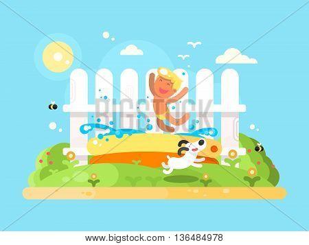 Little but in garden pool having fun. Sumer vication, running dog. Flat vector illustration