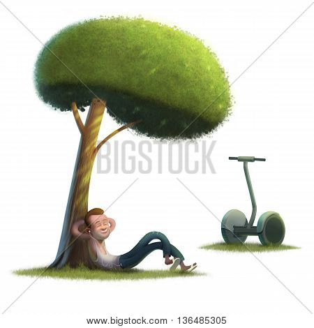 Young men hipster segway on sunny green lawn illustration white background