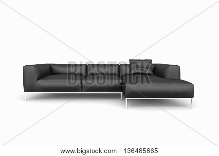 Isolate Big Sofa with shadow on white background. 3D render