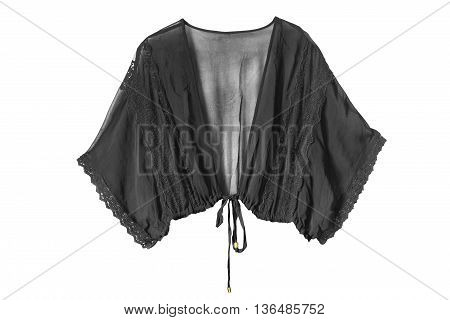 Black chiffon transparent blouse isolated over white