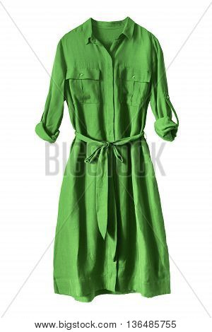 Green silk casual dress on white background