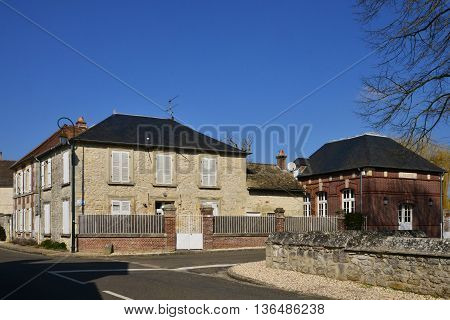 Lierville France - march 14 2016 : the picturesque village in winter