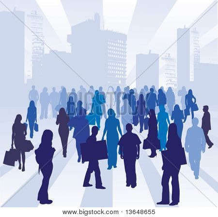 Illustration of a modern city with a group of people