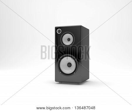 3D black audio speaker design photo (white background) modeling render