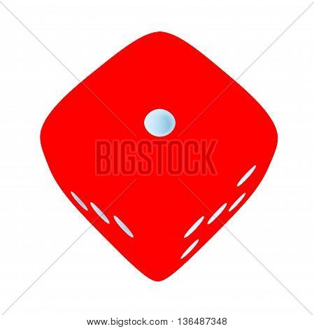 Red dice with number 1 on white background