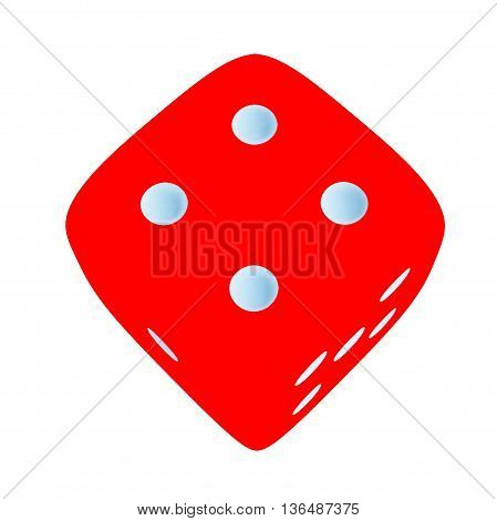 Red dice with number 4 on white background