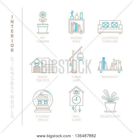Set Of Vector Interior Icons And Concepts In Mono Thin Line Style