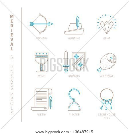 Set Of Vector Medieval Icons And Concepts In Mono Thin Line Style