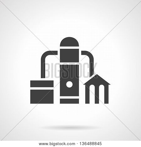 Abstract monochrome silhouette sign of petroleum plant. Power and energy industry. Factory with pipeline. Industrial facilities and objects. Symbolic black glyph style vector icon.