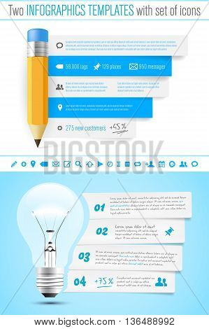 Two infographics template with pencil and bulb set of icons and sample text - vector illustration
