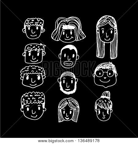 an images of People face cartoon icon Illustration design