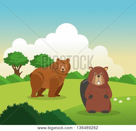 Animal concept represented by bear and beaver cartoon over landscape background. Colorfull Illustration