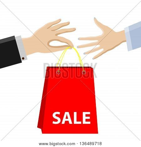 Shoppingsale.Purchase passes from male hands to female.