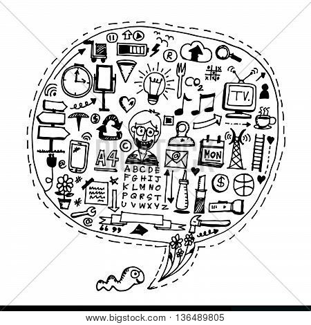 an images of Freehand drawing Business doodles Illustration design