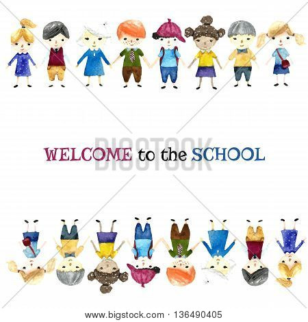 Watercolor school children illustration with place for text. Vector.