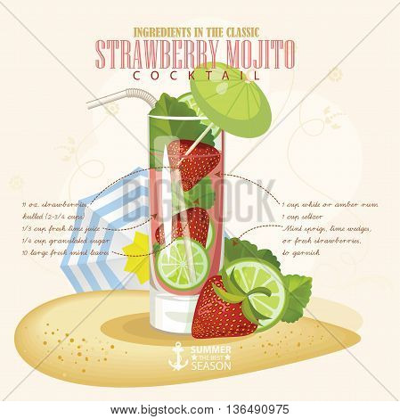 Vector illustration of popular alcoholic cocktail. Strawberry Mojito club alcohol shot.