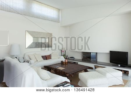 White living room of a modern house