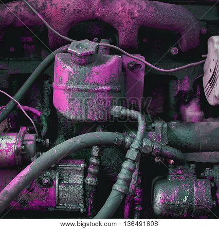 Old engine close up . Retro motor.