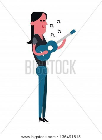 People concept represented by cartoon woman with guitar icon. Isolated and Colorfull illustration