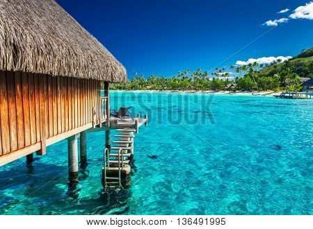 Water villas on the green tropical reef, the best island holiday
