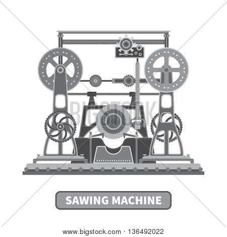 Oldstyle Vector Mechanical Sawing Machine In Flat Style