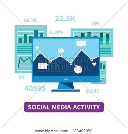 Social Media Activity Vector Concept In Flat Style