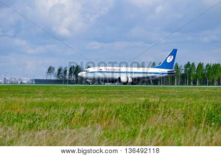SAINT PETERSBURG RUSSIA - MAY 11 2016. EW-254PA Belavia Airlines Boeing 737 airplane is riding on the runway in Pulkovo airport.