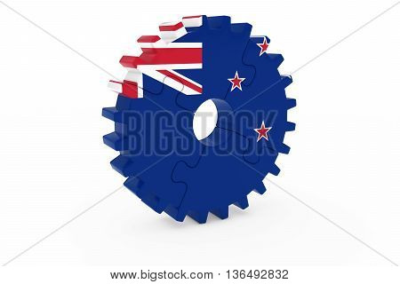 New Zealand Industry Concept - Flag Of New Zealand 3D Cog Wheel Puzzle Illustration