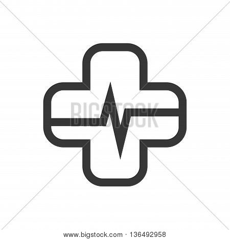 Medical and health care concept represented by cross cardiology icon. isolated and flat illustration