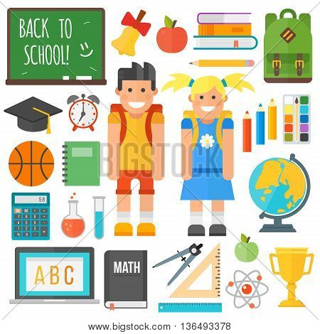 Set of education school symbol science icons on white background. School symbol student cute girl and school boy. Graduate childhood primary people, preschooler learning kids and vector tools.