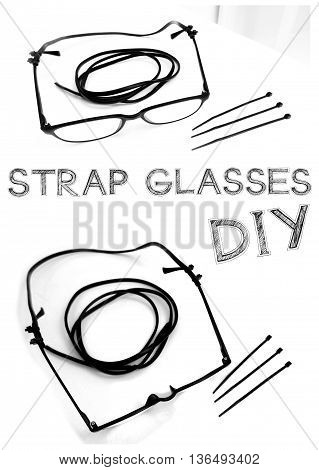 Strap Glasses Do it yourself my recycle idea made from Power cables or small talk line and Cable Tie have word freehand sketch.