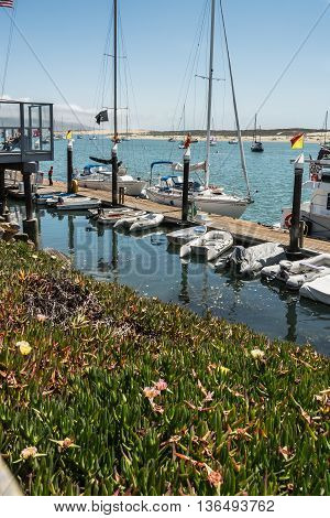 Morro Bay,California,USA - July 14, 2015 : Boats along the pier in the harbor