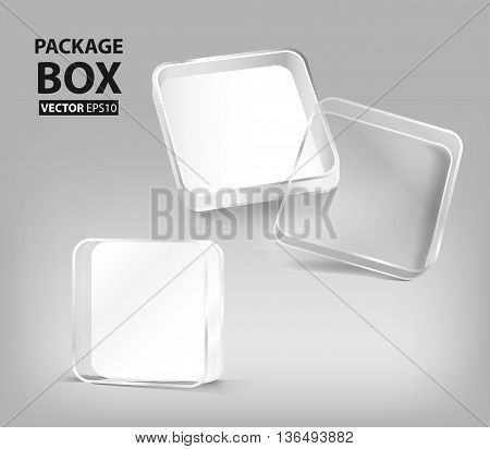 3d transparent plastic box package (Vector eps10)