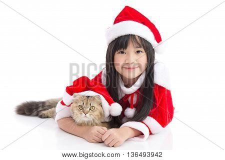 Beautiful asian girl lying on white background idolatedChristmas concept