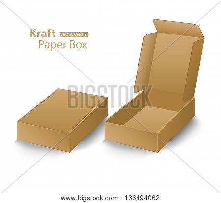 Kraft paper box creative design on white background (Vector eps10)