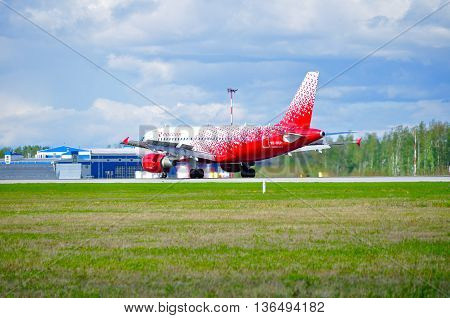 SAINT PETERSBURG RUSSIA - MAY 11 2016. VQ-BCP Rossiya Airlines Airbus A319 airplane after landing in Pulkovo airport.