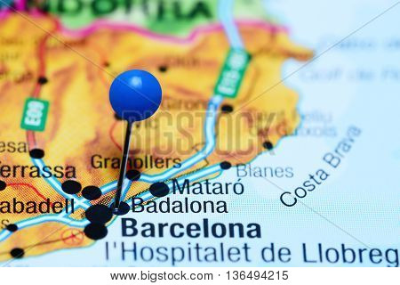 Badalona pinned on a map of Spain