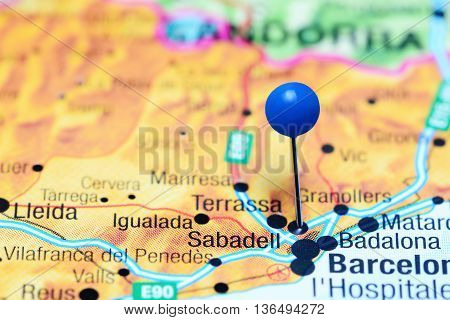 Sabadell pinned on a map of Spain