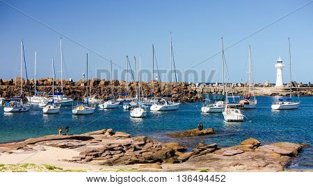 Wollongong Harbor, Australia, where boats come for fishing and relaxation