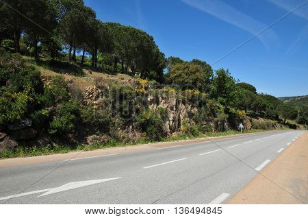 Grimaud France - april 16 2016 : a countryside road