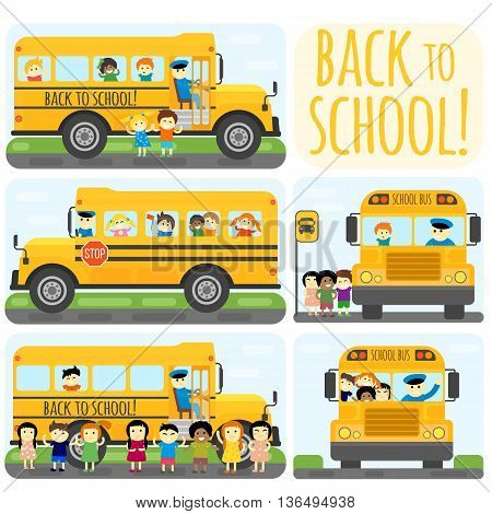 Illustration of school kids riding yellow school bus transportation education. Student child isolated school bus safety stop drive vector. Travel automobile school bus public trip childhood truck.
