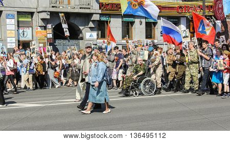 St. Petersburg, Russia - 9 May, Veterans of combat operations in the column, 9 May, 2016. Holiday-action