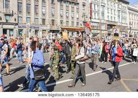 St. Petersburg, Russia - 9 May, Procession of people with portraits of loved ones, 9 May, 2016. Holiday-action