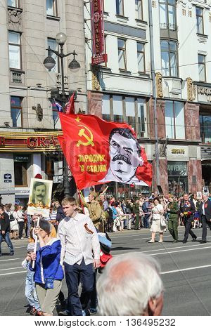 St. Petersburg, Russia - 9 May, A flag with a portrait of Stalin, 9 May, 2016. Holiday-action