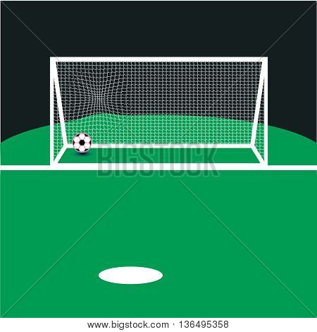 Vector Soccer ball on the green field,illustration, land, lawn, league, leisure, light, netting, night,