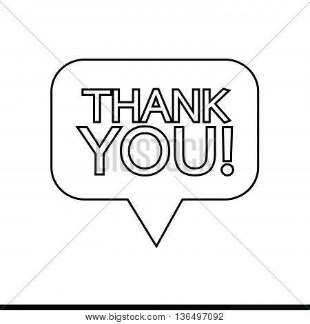 Thank you sign icon Speech bubble Illustration design
