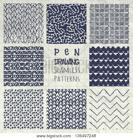 Set of Nine Abstract Pen Drawing Sketched Geometric Seamless Background Patterns on Crumpled Notebook Texture. Fully Editable EPS file with Pattern Swatches. Vector Illustration